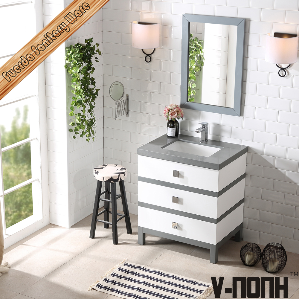 single sink carrara white quartz hotel bathroom vanity