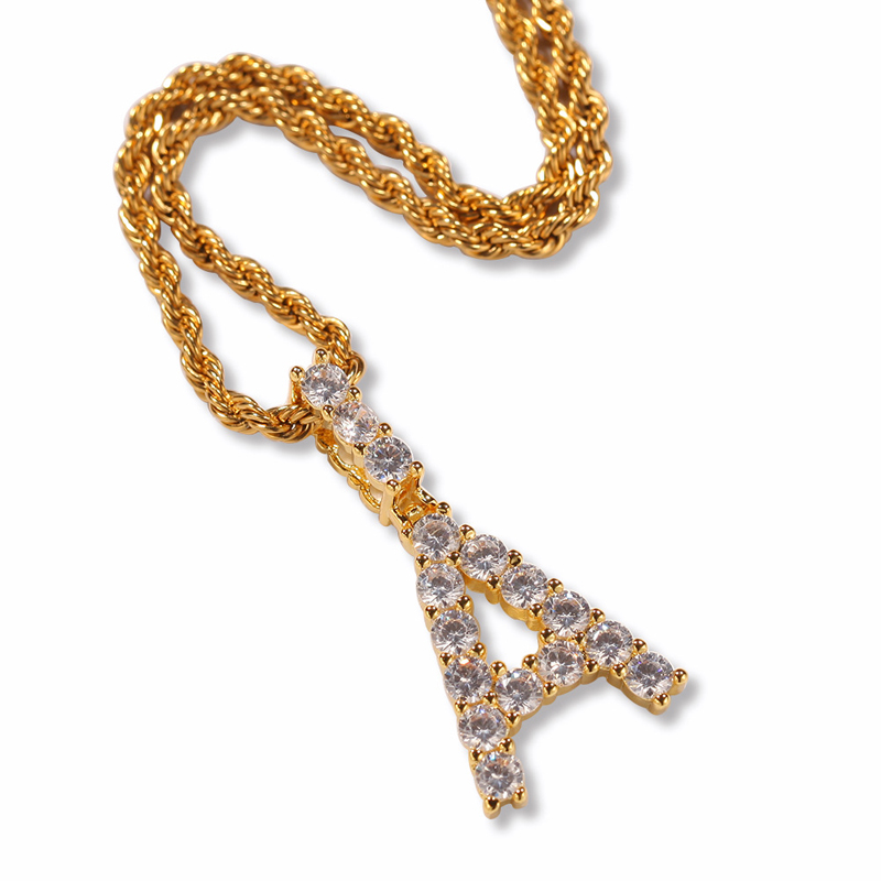 26 letters Men's copper Micro Full CZ iced out hiphop <strong>jewelry</strong>