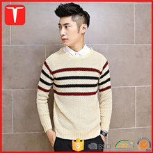 Men heavy weight striped sweater pullover