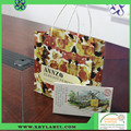 White packing paper bag with satin and pp rope handles