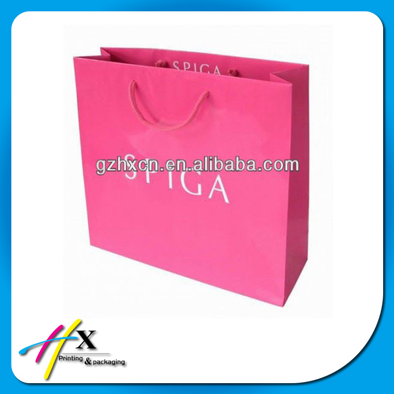 Customzied logo printing pink color shopping bag for lady's shoes