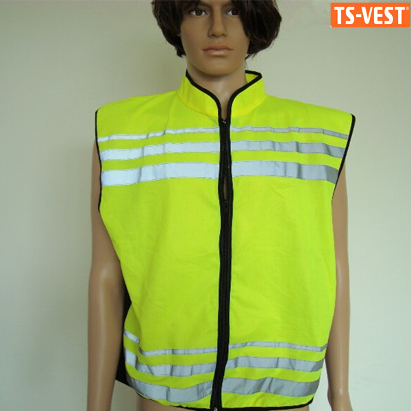 Sleeveless fluorescent yellow safety reflective waistcoat