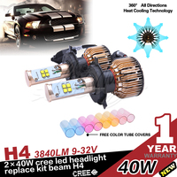 Factory price car headlight led 40W 3840LM H4 Hi/Lo 360 degree led projector headlights