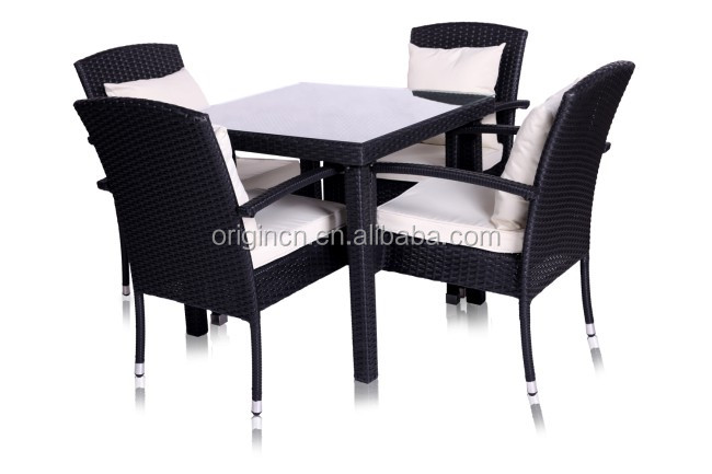 2017 New Style outdoor balcony heavy-duty restaurant rattan compact dining table set
