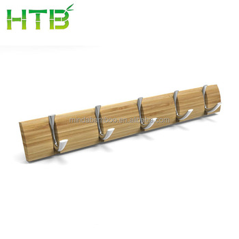 5-Hook Bamboo Wall-Mounted Rack,Coat Hook Rack Towel Hanger Holder (Bamboo) (5-Hook, Bamboo)