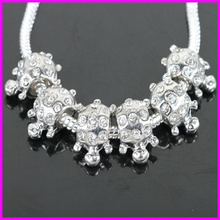 KJL-BD5131 Wholesale ! Clear rhinestone Antique silver Alloy big hole Beads fit jewelry bracelet DIY