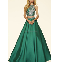 Custom Design High Neck Two Piece Ball Gown Style Women Prom Dress