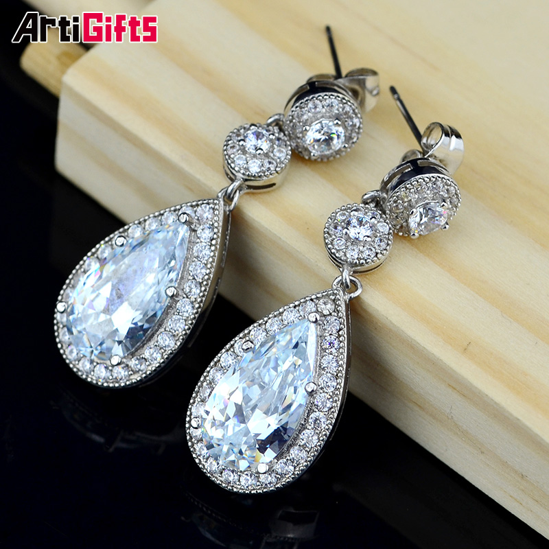 New Arrival Trendy Style White Gold Plated Water Drop shape Cubic Zirconia Diamond <strong>Earrings</strong> For Party