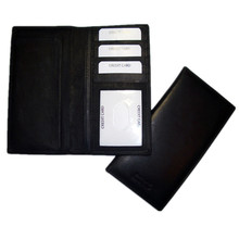 Genuine leather cheque book holder wallet with credit card slots.