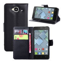 Factory wallet flip leather case for alcatel one touch idol mini ot-6012