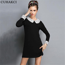 2017 New Spring Autumn Fitted Dresses Women Peter Pan Collar Lace Long Sleeve Knitted Mini Dress