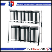wholesale low price high quality tea coffee sugar storage canisters set with chrome stand