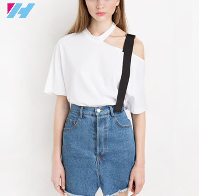 new women fashion style one shoulder slim personality white cotton soft top t-shirt