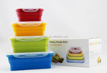 Set of 4 collapsible silicone food container/foldable silicone food storage container