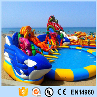 Animal park inflatable pvc water slide with swimming pool for outdoor amusement