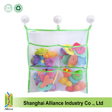 Baby bath bathtub toy mesh storage bag organizer with large suction cups and hooks