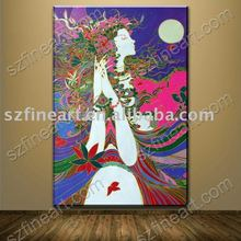Hot seller Beautiful abstract chinese women undress oil painting on canvas for house decoration