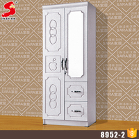 Customize French countryside style home furniture white color simple modern 2 door wardrobe
