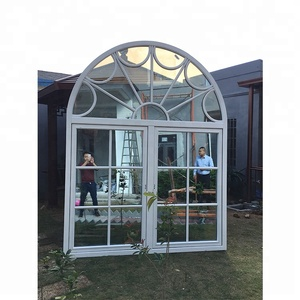 Grill design teak double glazed aluminum clad wood aluminium frame round arched french window