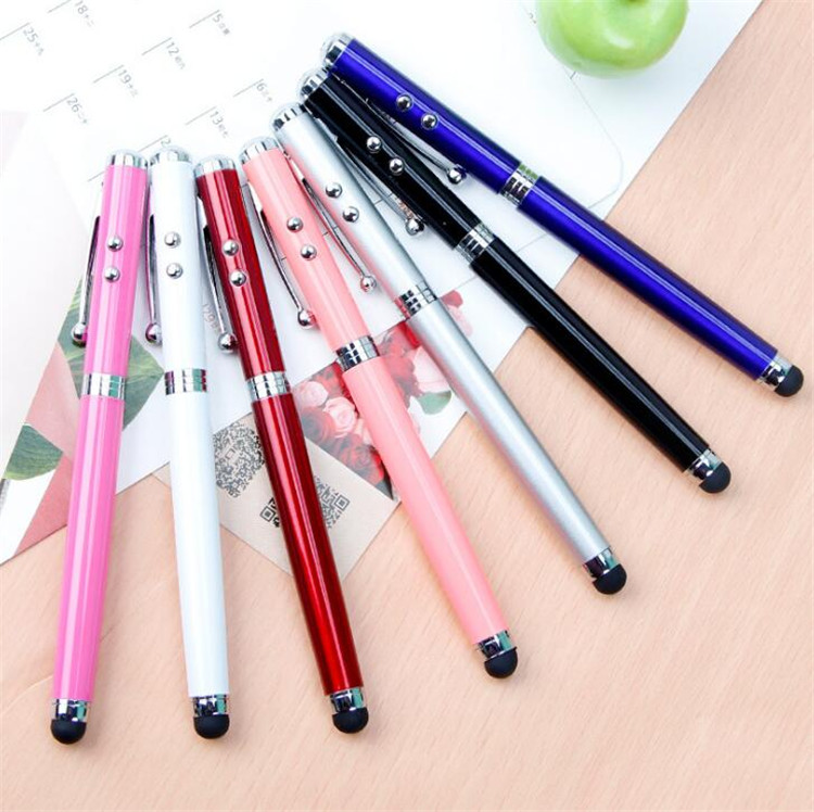 2019 Promotional led light Touch stylus Aluminium metal pen with logo