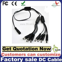 DC Power 1 to 8 way Splitter Cable 1 Female to 8 Male Port FOR CCTV Security Camera 2.1MM