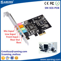 Mini Stereo 6 Channel PCI-E Sound Card/Original Chip CMI8738 PCI-E Audio Card Adapter