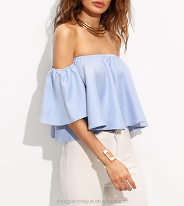 New design sky blue ruffle off shoulder short sleeve halves crop top blouse for women