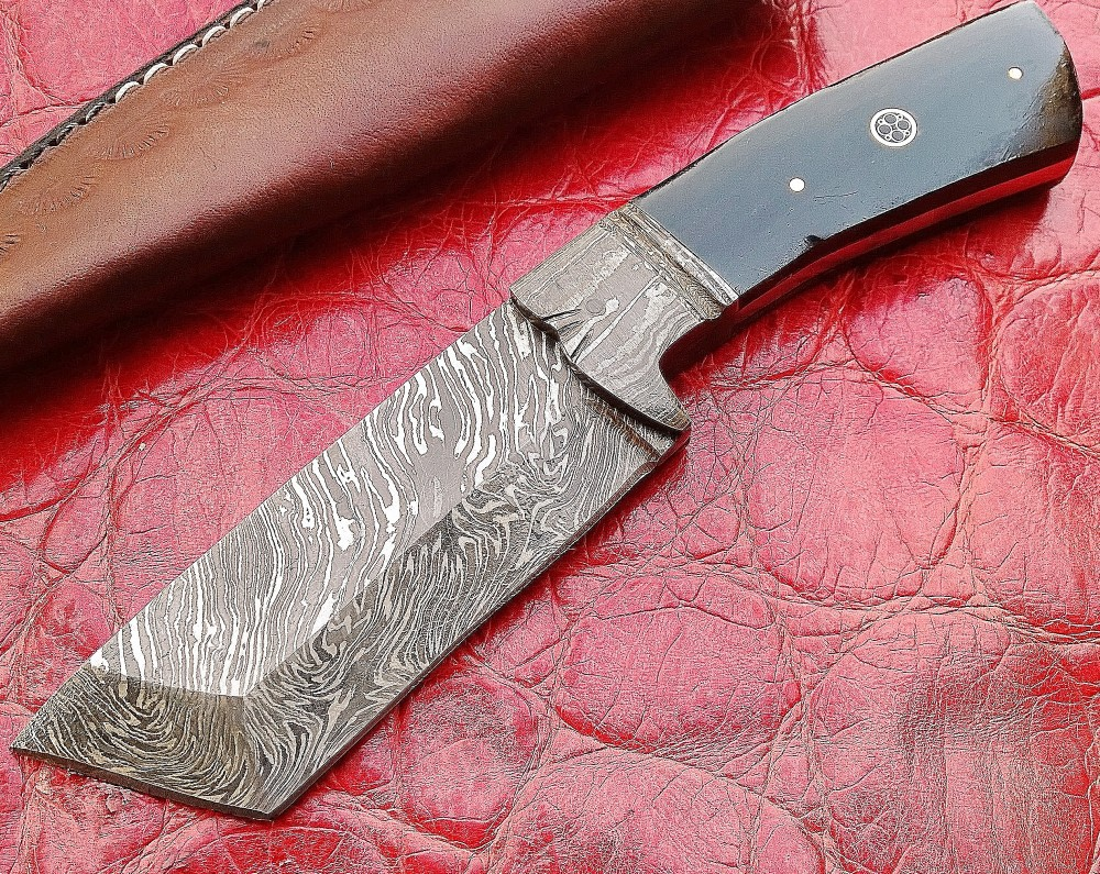 Custom Hand Made Damascus Blade Tanto (Hunting) Knife with Leather Sheath
