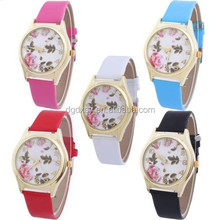 New Fashion Women's Imitation Leather Band Rose Print Simple Quartz Wrist Watch