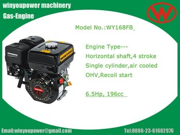 manual start,196cc OHV 4 stroke petrol 6.5hp engine 168FB