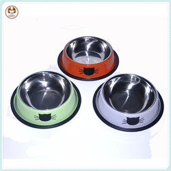 Stainless Steel Dog Water Food Bowl Cat Printing Dog Water Bowl