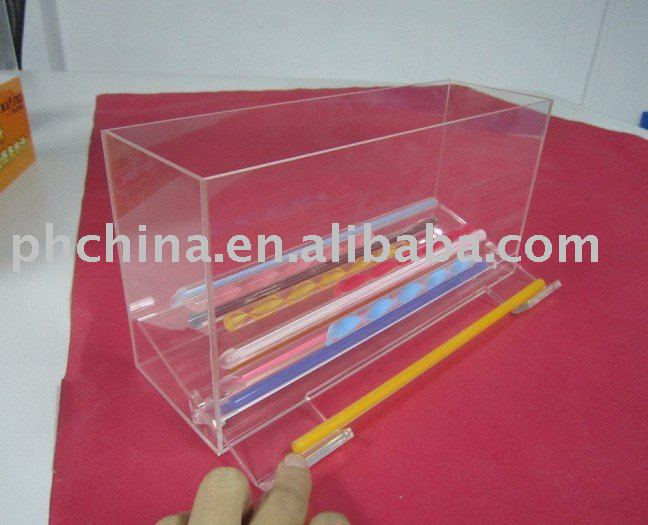 Countertop Acrylic Straw Box,top grade Straw Dispenser,Transparent Plastic Drinking Straw Box