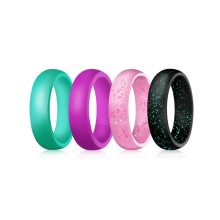 Flexible Rubber Band Silicone Ring Design for Women Man 4pcs per Set 5.7mm Wide Silicon Glitter Wedding Band Ring