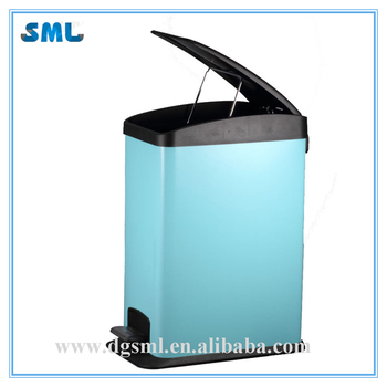12L Simplicity Designed Humanized Standing Galvanized Stainless Steel Foot Pedal Trash Bin