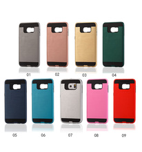 2 in 1 Multi colors Metal Texture Dual Layer PC TPU Hybrid Non-slip mobile phone case for Samsung Galaxy s6