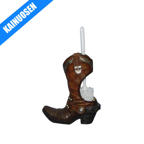 Polyresin Cowboy Boot Toilet Brush Holder