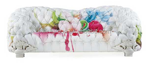 New Classic European Design Tufted Sofa Made of Colorful Floral Painted Leather BF11-03071a