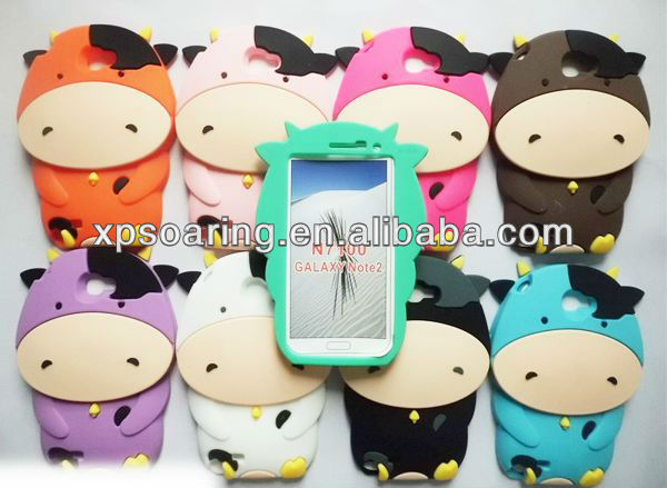 3D dairy cow silicon case cover for Samsung galaxy Note II N7100