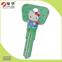 2016 customized green star hello kitty groovy color key blanks dimple computer key for door lock