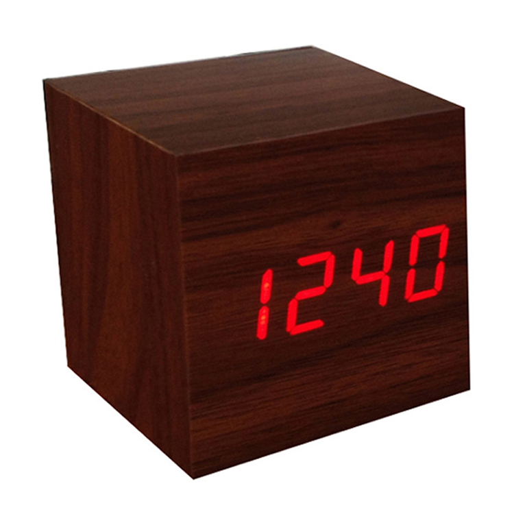2018 Wooden LED Alarm Clock With Thermometer Temp Date LED Display Calendars Electronic Desktop Digital Table Clocks