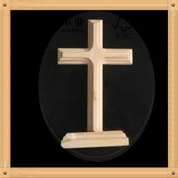 hot sell christmas decorations new design solid pine cheap unfinished wooden crosses with stand