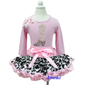 Light Pink Cow Print Pettiskirt Rhinestone Cowgirl Cowboy Boots Polka Dots Light Pink Long Sleeves Tee Party Dress 1-7Y