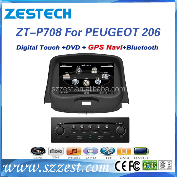 Zestech car dvd for Peugeot 206 gps navigation