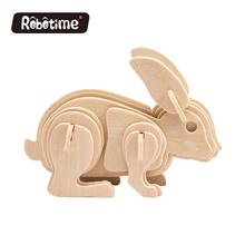 Kids Wooden Custom Educational Toy 3D Wooden Puzzle Animals