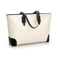 Hot sale navy korea simple pure pu leather women fashion shoulder tote bag