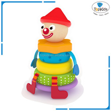 Wooden clown stacking tower toy blocks for kids