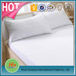 high quality 100% cotton double size white fitted sheet with elastic