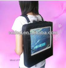 2015 name brand 22'' TFT LCD Human Signage tft wearable backpack tv Walking billboard