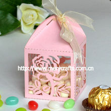 rose wedding candy box with free logo,free ribbons,and free samples for Party giveaways