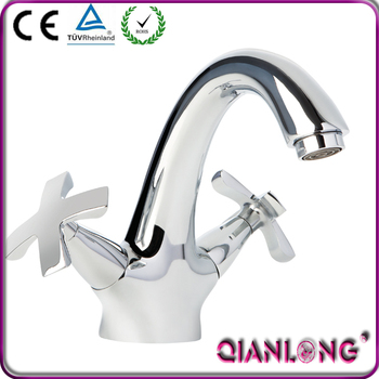 QL-0422 contemporary popular brass tuscany double handle swan basin faucet